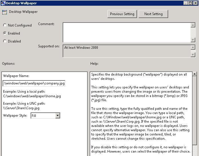 Desktop Wallpaper Via Group Policy | Desktop Wallpaper