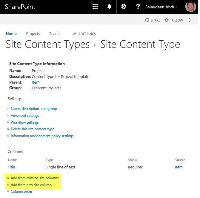 sharepoint online add column to content type powershell