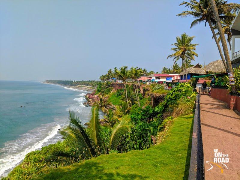 The stunning cliff beach of Kerala at Varkala