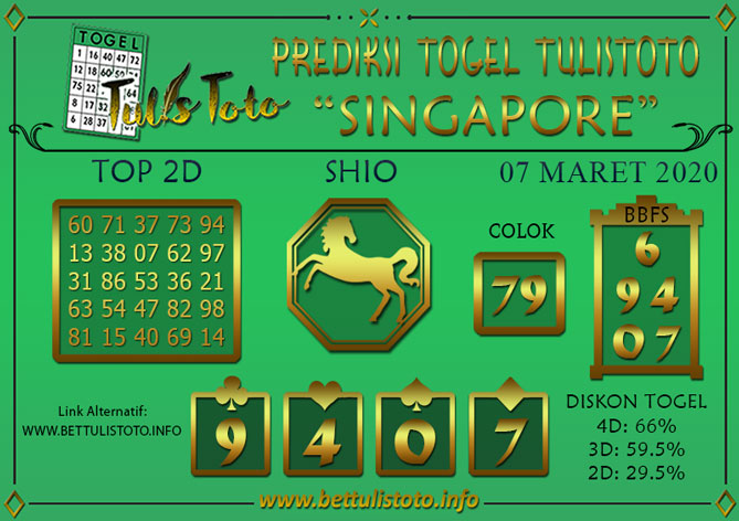 Prediksi Togel SINGAPORE TULISTOTO 07 MARET 2020