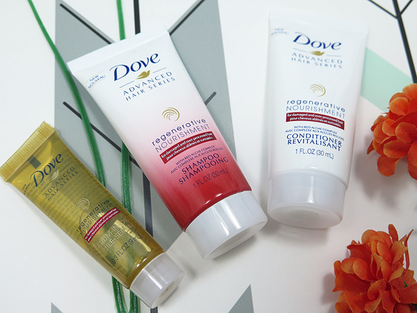 March 2017 Topbox Dove Advanced Hair Series Regenerative Nourishment Shampoo, Conditioner and Hair Serum