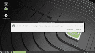 Linux Mint 19 Tara installation complete