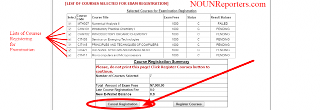 How to Cancel Registered Exams in Noun