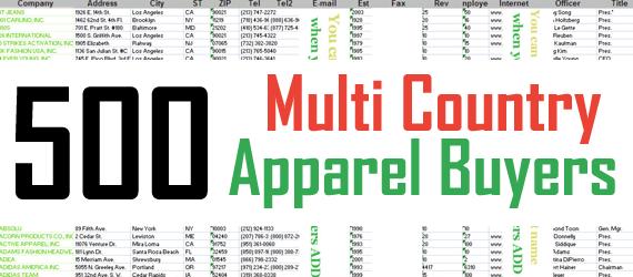 500 Multi Country Buyers List : Apparel Buyers | Garment