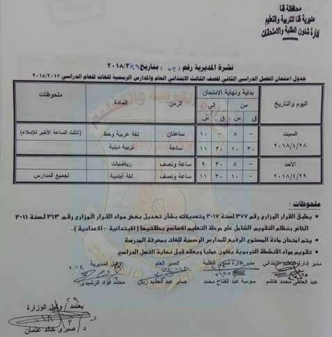 جدول مواعيد امتحانات اخر العام 2018 محافظة قنا
