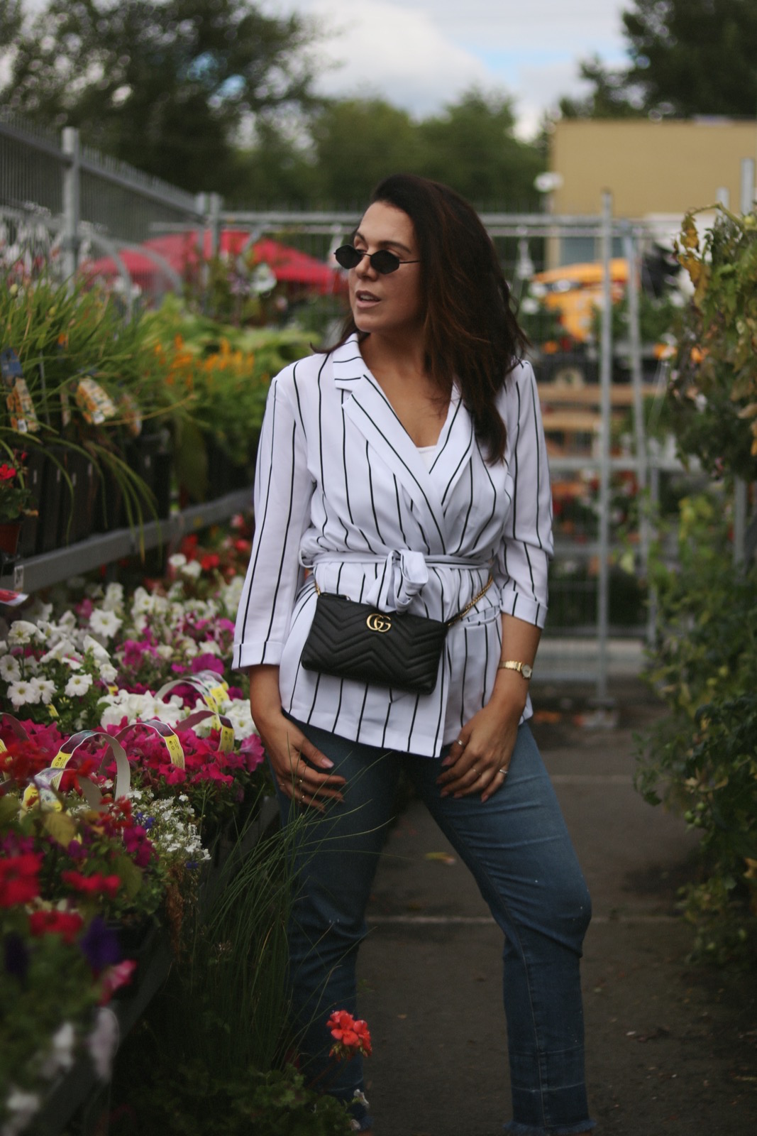 striped blazer outfit le chateau vancouver fashion blogger gucci marmont bag