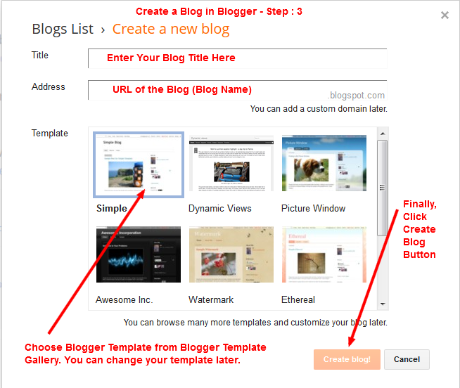 Create a Blog on Blogger - Enter Blog Title, Blog URL and Select the template - Step -3
