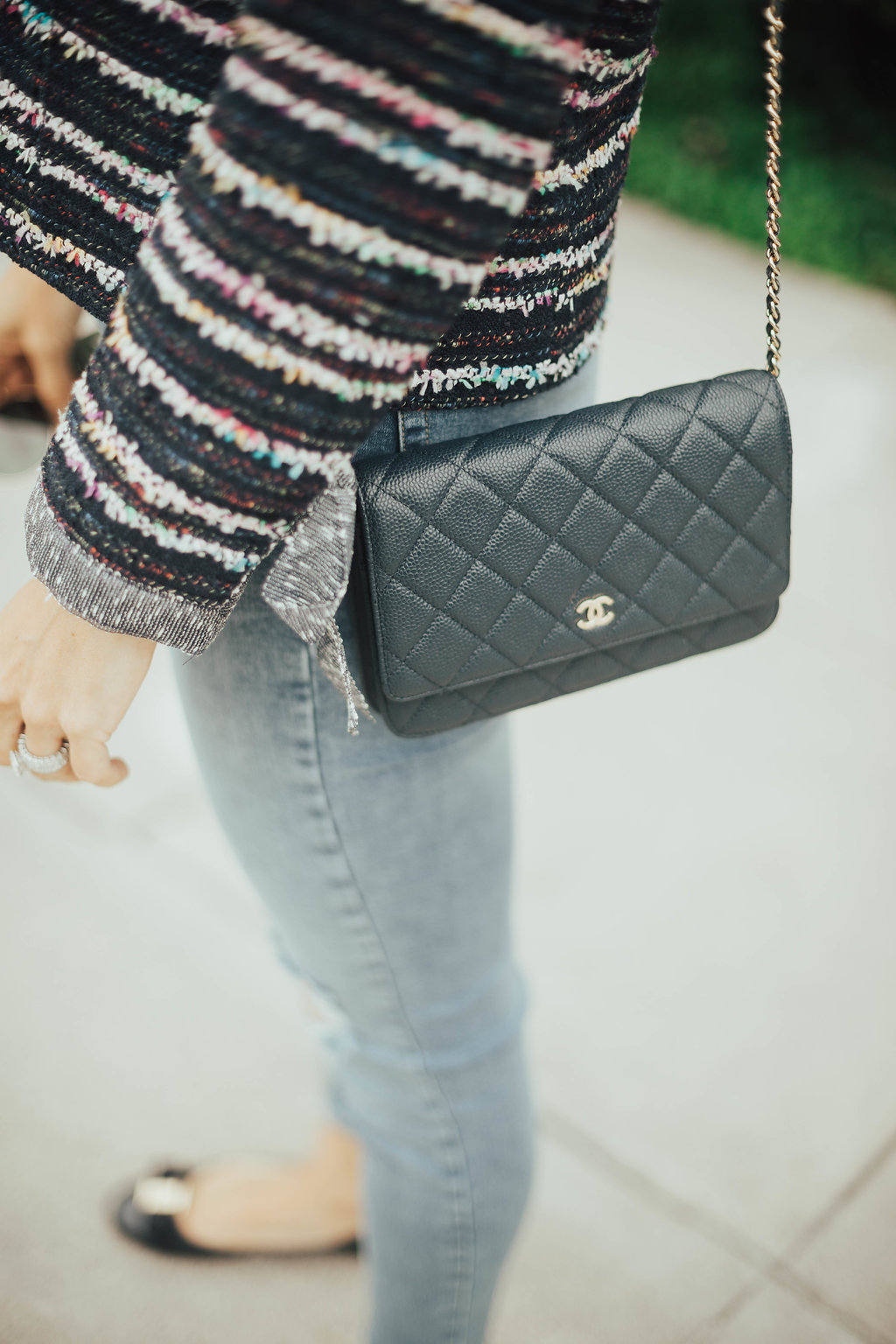 navy chanel wallet on chain