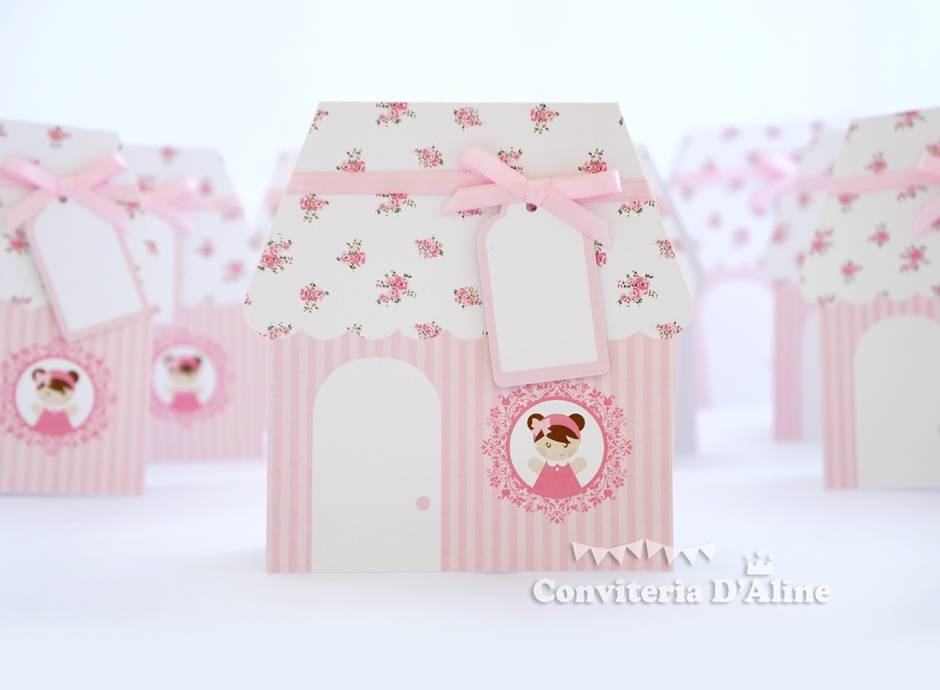 convite casinha de boneca de pano