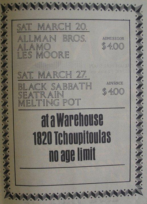 Ticket del evento Allman Brothers y Alamo en 1971 en NOLA.