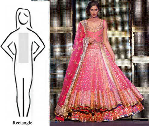 Lehenga for the rectangular or straight body shape