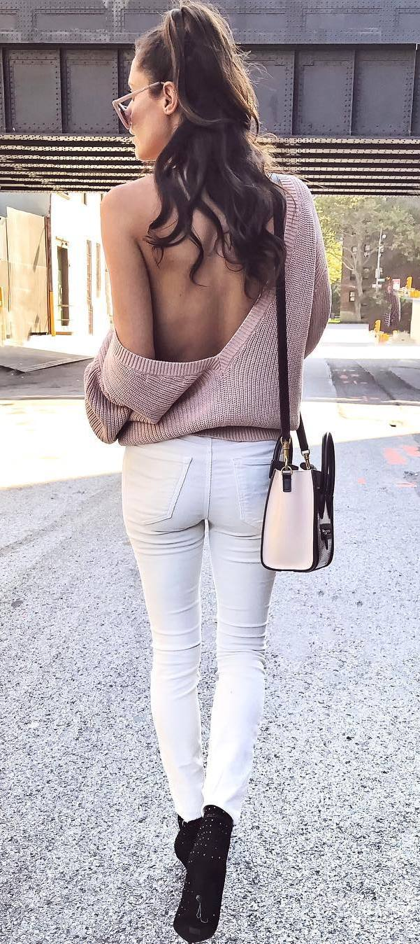white and blush outfit idea