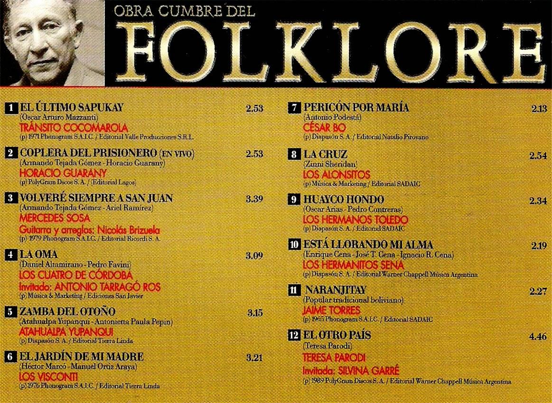 obras cumbres del folklore 28 contratapa