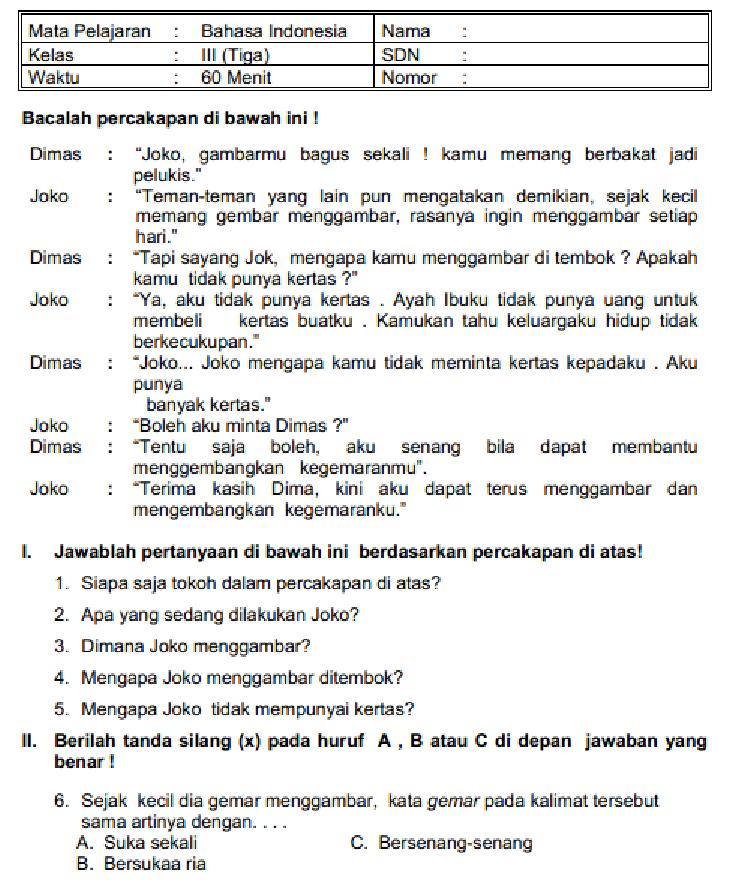 Soal Latihan Dan Jawaban Ulangan Umum Bahasa Indonesia Kelas 3 Sd Mi Semester 1 Wahana Info Edukasi