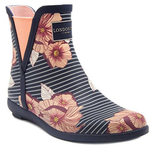 London Fog Striped Floral Rain Booties