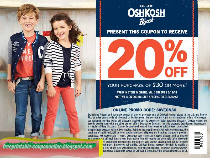 picture relating to Oshkosh Printable Coupon identify Printable Coupon codes 2019: OshKosh Bgosh Coupon codes