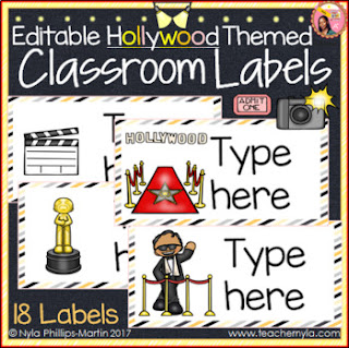 Editable Hollywood Theme Classroom Labels