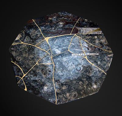 Kintsugi Fossil Plate Back