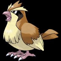 Imagen de Pidgey, Pokemon pájaro parecido a un gorrión, de color marrón, barriga y punta de alas blanco amarillento, y zona negra debajo de los ojos.