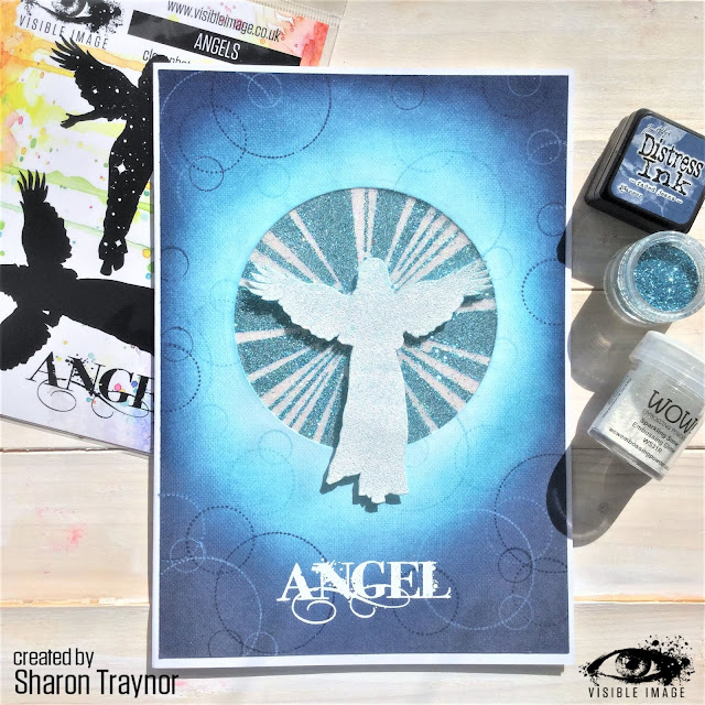 angels stamp - white embossing