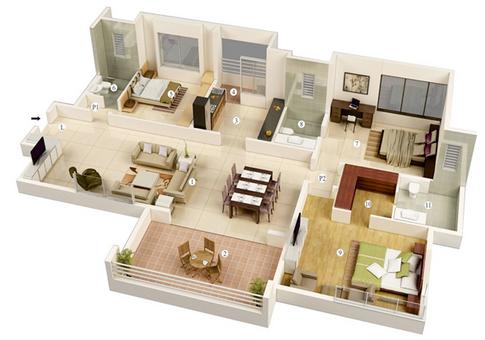 desain denah rumah minimalis moderen 3 kamar tidur (3