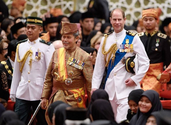 Prince Edward, Countess Sophie, Sultan Hassanal Bolkiah, Queen Saleha at Bandar Seri Begawan of Brunei
