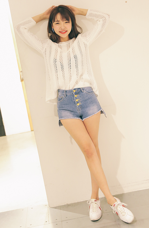 Cut-Off Hem Button-Fly Shorts