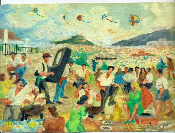 Koulouma. Flying kites on Clean Monday.  Painting by Notis Xanthi