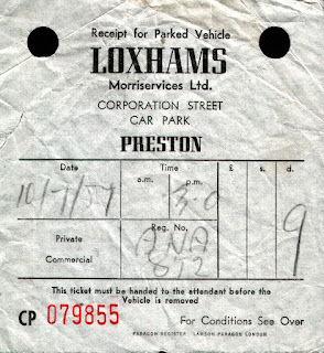 Loxhams Motorservices Ltd. Corporation Street, Preston 1957 car park ticket