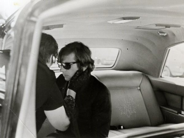 Roman Polanski at the funeral of his wife,Sharon Tate,was murdered by Charles Manson and his followers 9 August 1969