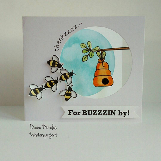 Bee Arrow Card by Diane Morales | Winston's Honeybees stamp set by Newton's Nook Designs | Inky Paws #32 Challenge | #newtonsnook