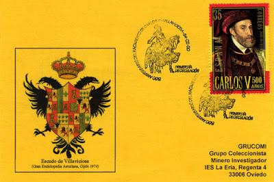 """Tarjeta del matasellos """"Primer Día de Circulación"""" del sello dedicado al 500 aniversario del emperador Carlos."""