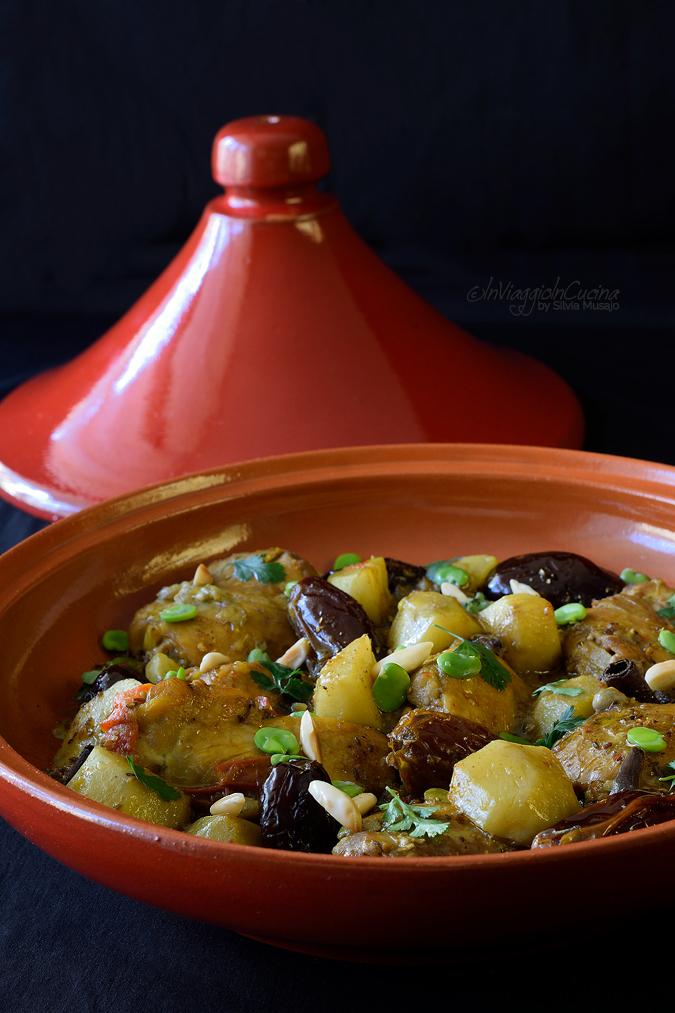 Tajine di pollo con topinambur e fave
