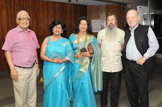 H.K.Dua with  Ranjana Narayan Shovana Narayan Abhijit Bhattacharya and Dr. Herbert Traxl.