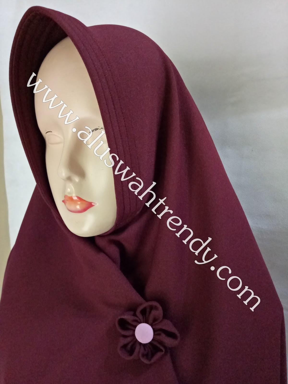 Jilbab Khimar Instan Warna Merah Marun 20