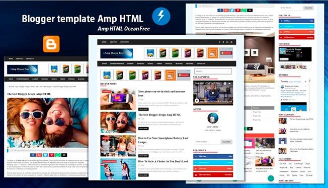 Plantilla de Blogger en el formato Amp HTML gratis - Amp Ocean Free