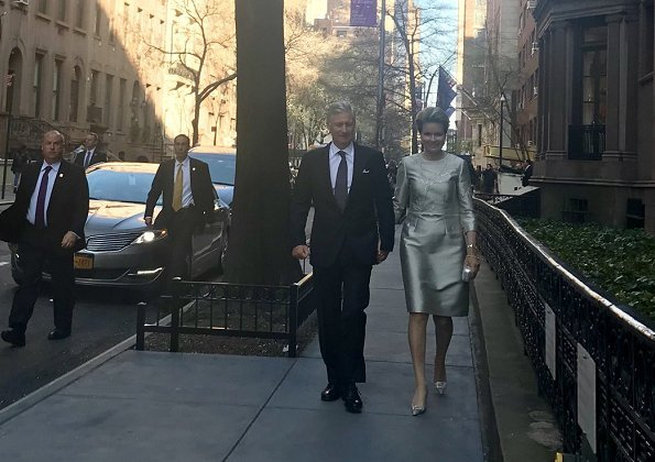 Queen Mathilde wore GIORGIO ARMANI Duster Coat, and Natan dress. Belgian fashion brand. Queen visited Morgan Library and Museum in New York