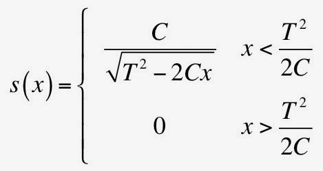 An equation showing the stopping power as a function of depth. This equation illustrates the Bragg peak.