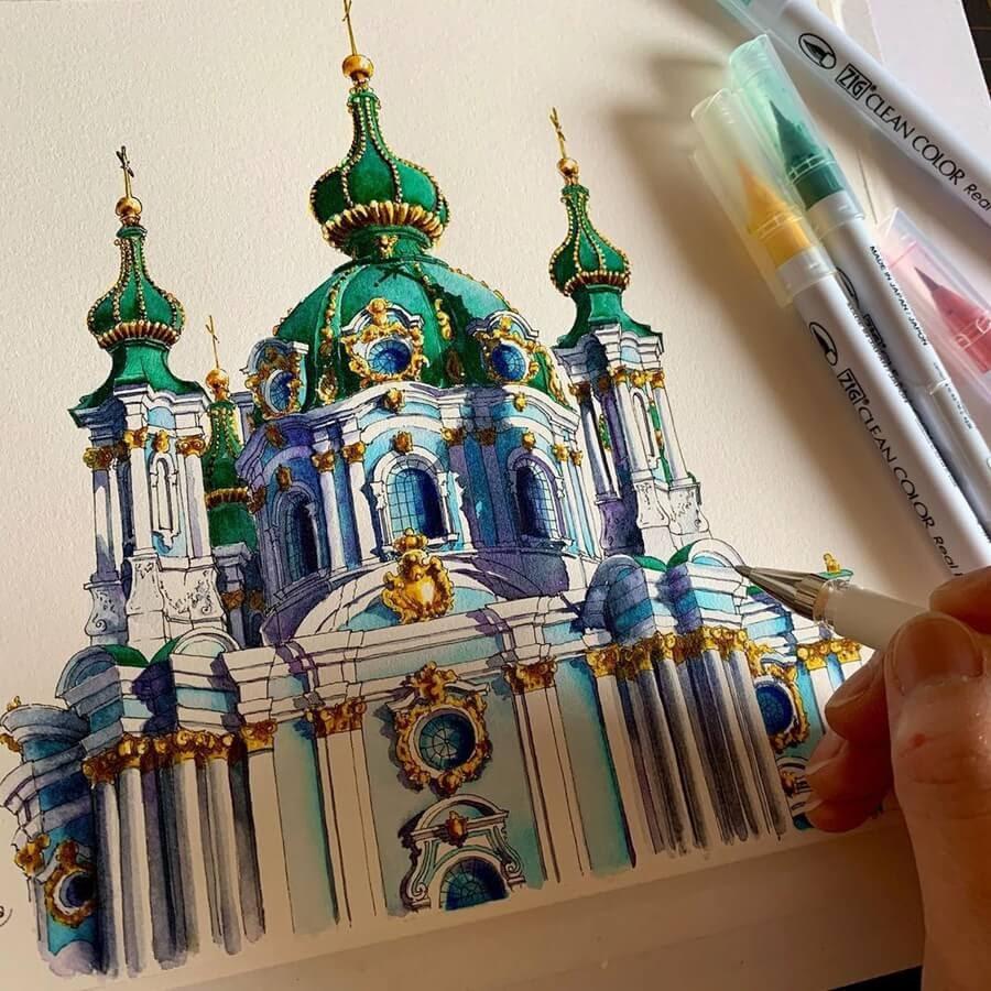12-Church-of-St-Andrei-Kiev-Drawings-Rihiko-www-designstack-co