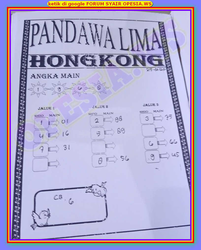 Kode syair Hongkong Rabu 29 Januari 2020 52