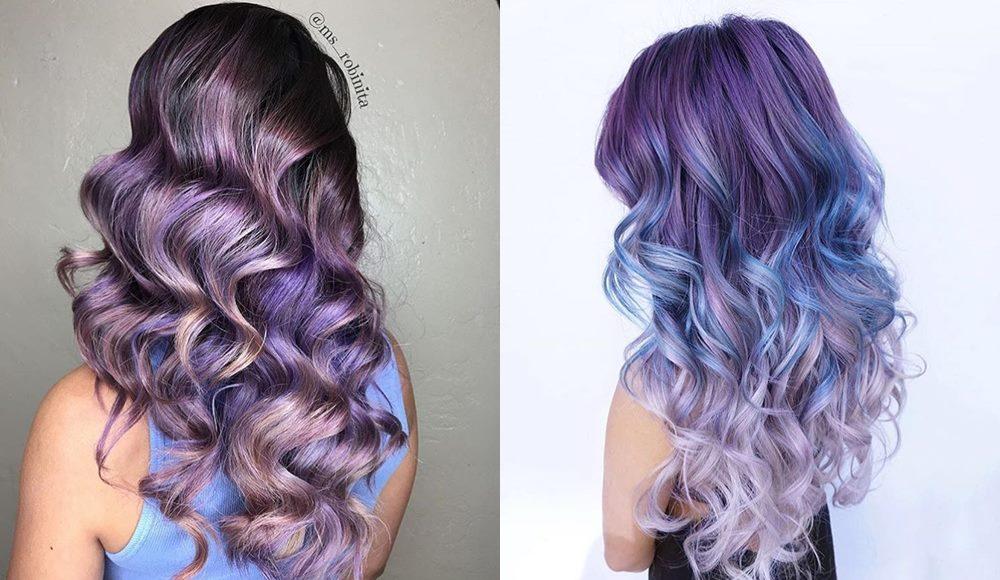 fioletowe włosy fryzury
