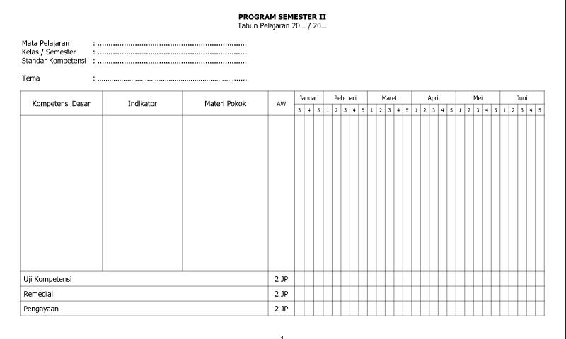 Referensi Contoh Program Semester II Part 2 untuk Administrasi Guru Wali Kelas