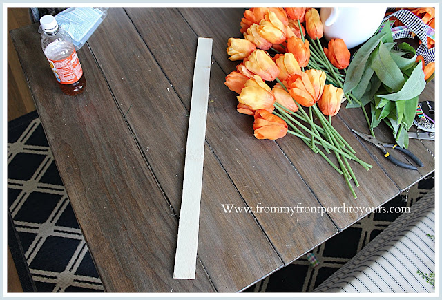 Carrot Tulip Wreath-Tulip Bundles-Orange-Tutorial-Garden Lath-From My Front Porch To Yours
