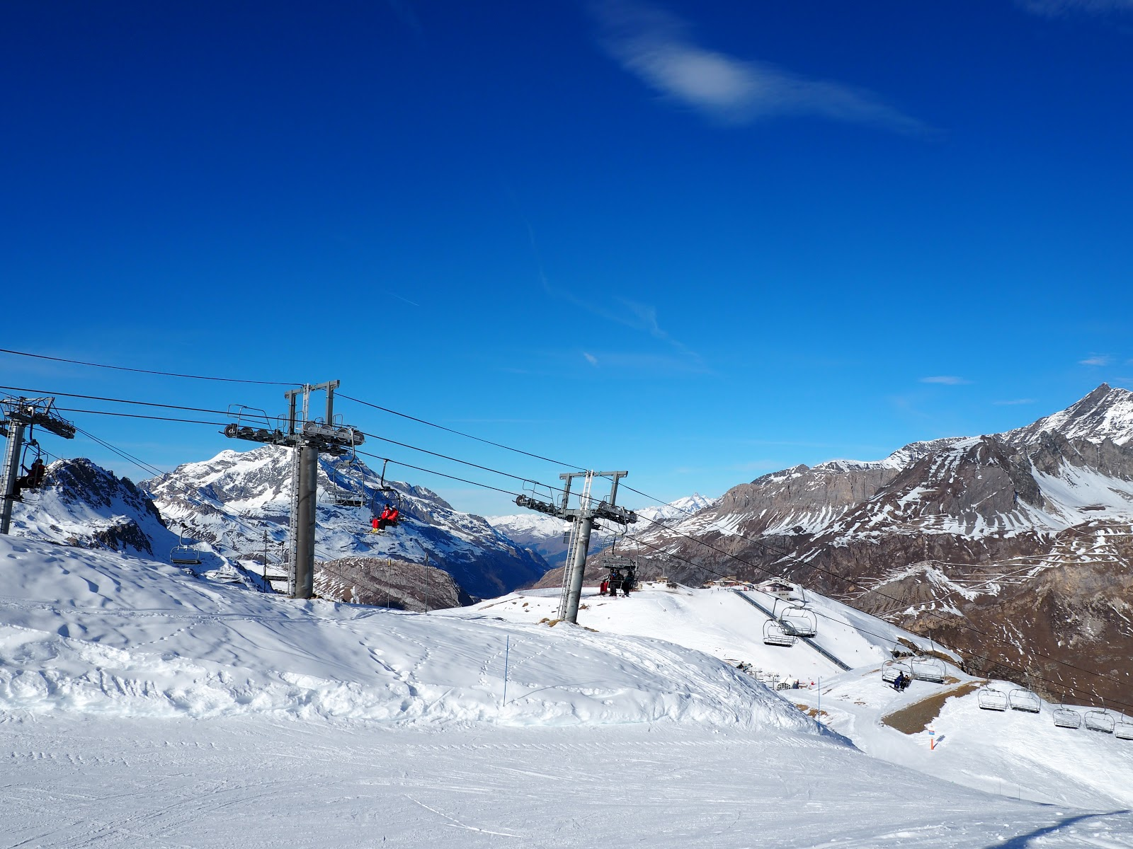 ski resort on top of a snowy mountain in Val d'isere, France