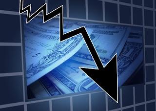 gráfico de ações em queda