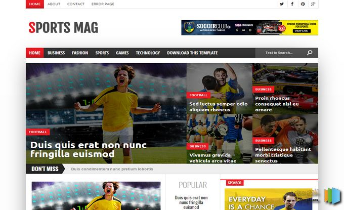 Sports Mag Blogger Template Responsive
