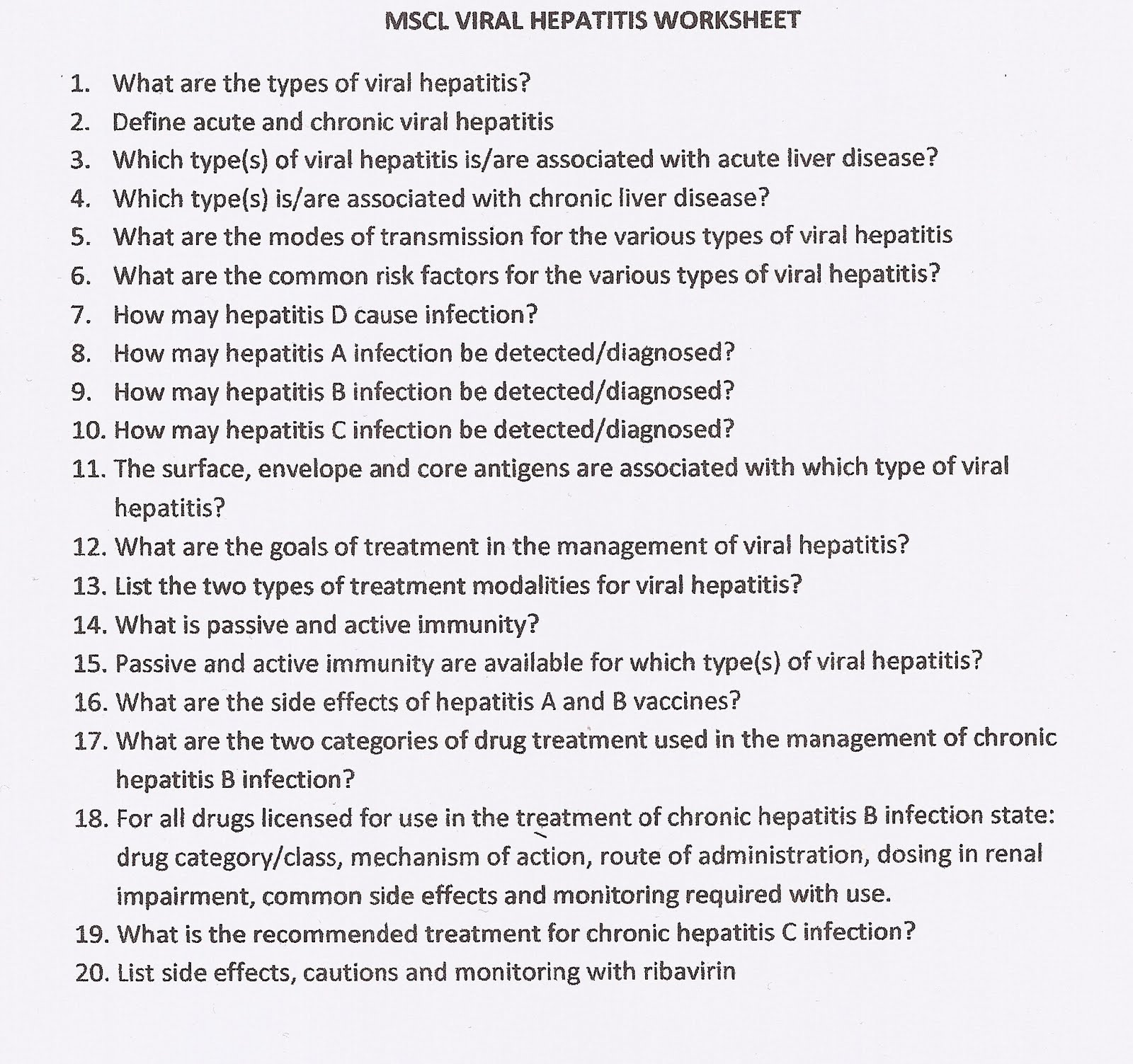 Notes Of A 2nd Year Pharm Student Viral Hepatitis Worksheet