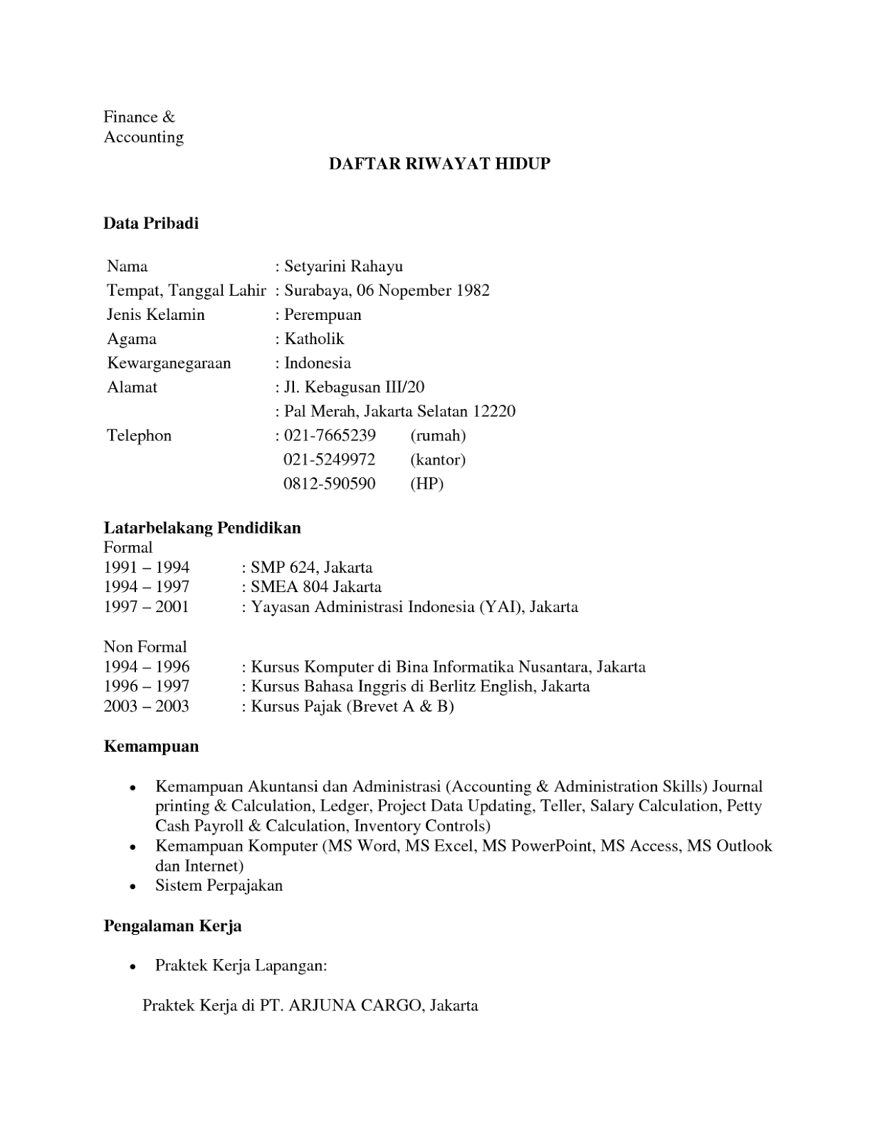 Contoh Daftar Riwayat Hidup Doc Cv Nabila