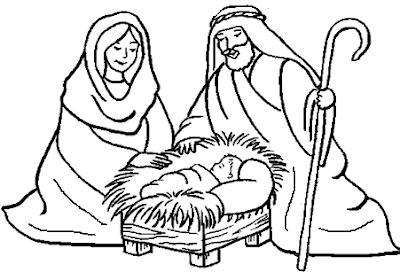 Dibujo del Nacimiento de Jesús para colorear, pintar o imprimir