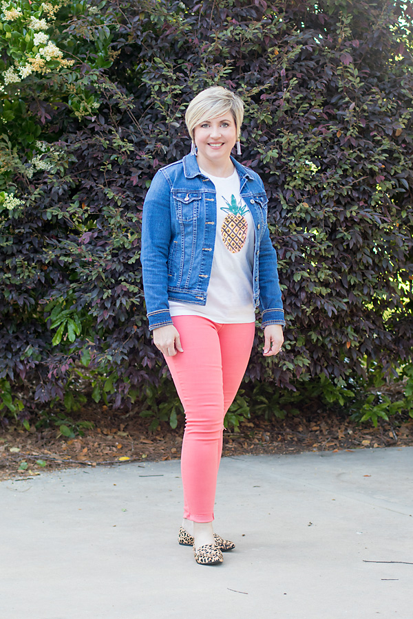 coral colored denim
